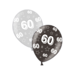 "60th Birthday Shimmering Silver & Deepest Black Printed Latex Balloons 11""/27.5cm - 25 PC"