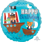 Pirate Ship Happy Birthday Standard HX Foil Balloons S40 - 5 PC