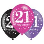 """Pink Sparkling Celebration 21st Happy Birthday Latex Balloons 11""""/27cm - 6 PKG/6"""