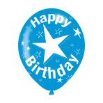 "Happy Birthday Blue Latex Balloons 11""/27.5cm - 10 PKG/6"