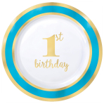 1st Birthday Boy Blue Border Metallic Plastic Plates 19cm - 6 PKG/10