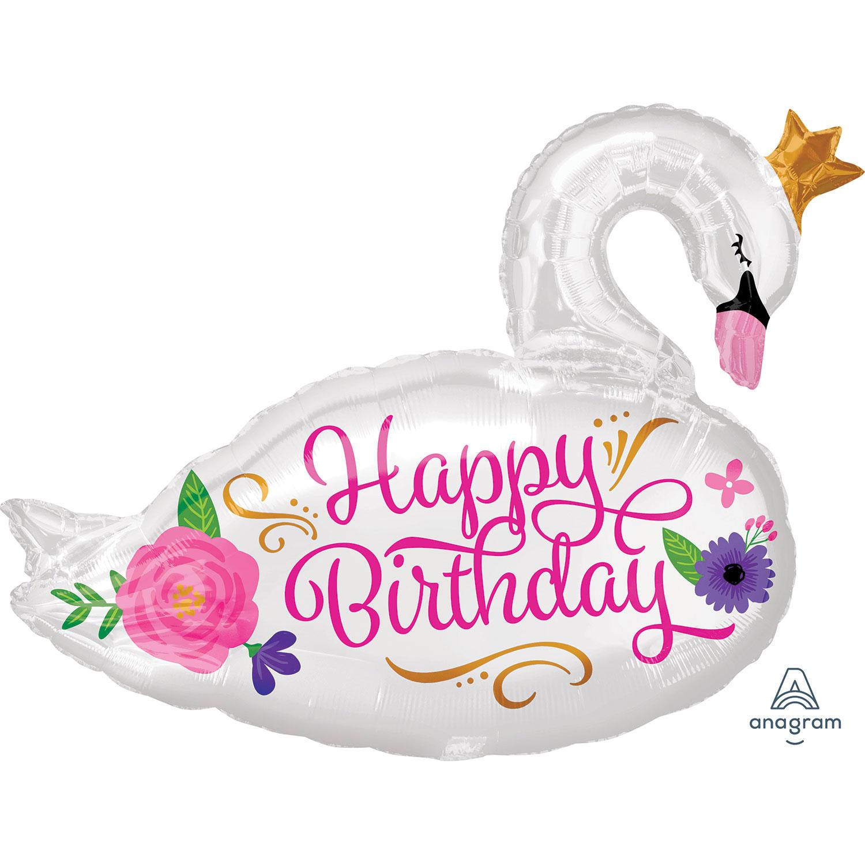 Feliz Cumpleaños Globos De Papel De Aluminio Hermoso Cisne Supershape Fiesta Decoración