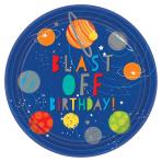Blast Off Birthday Paper Plates 23cm - 6 PKG/8
