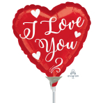 White Love Script Mini Foil Balloons A15 - 5 PC