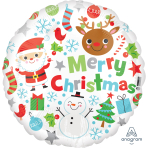 Merry Christmas Icons Standard Foil Balloons S40 - 5 PC