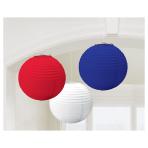 Great Britain Red/White/Blue Hanging Lanterns 24cm - 6 PKG/3