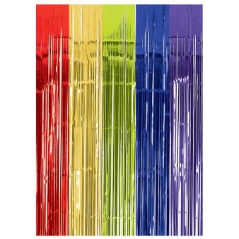Multi Colour Metallic Door Curtains 91cm x 2.43m - 6 PC