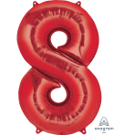 "Number 8 Red SuperShape Foil Balloons 22""/55cm w x 35""/88cm h P50 - 5 PC"