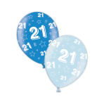 "21st Birthday Rich Blue & Icy Blue Printed Latex Balloons 11""/27.5cm - 25 PC"