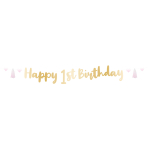 1st Birthday Pink Letter Banners 1.8m - 6 PC