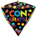 "Bright Dots Congrats Diamondz Foil Balloons 15""/38cm w x 17""/43cm h G20 - 5 PC"