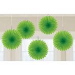 Kiwi Green Mini Paper Fans - 15.2cm - 6 PKG/5