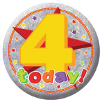 Happy 4th Birthday Holographic Badges 5.5cm - 12 PKG