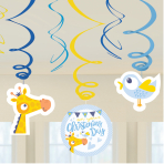 On your Christening Day Blue Swirl Decorations - 6 PKG/6