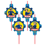 Fireman Sam Plastic Straws - 10 PKG/8