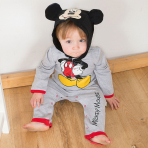 Disney Mickey Mouse Jersey Romper with Hood - Age 3-6 Months - 1 PC