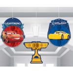 Cars 3 Honeycomb Decorations 17cm - 6 PKG/3