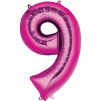 """Number 9 Pink Minishape Foil Balloons 16""""/""""40cm A04 - 5 PC"""