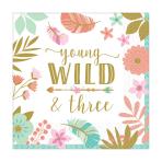 "Boho Birthday Girl ""Young, Wild & Three"" Luncheon Napkins 33cm - 12 PKG/16"
