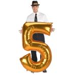 "Number 5 Gold Jumbo SuperShape Foil Balloons 34""/86cm w x 52""/132cm h L53 - 3 PC"