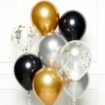 "Black Gold & Silver DIY Latex Balloon Kits 11""/27cm - 8 PKG/8"