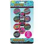 Totally 80s Badges/Buttons 4.2cm - 12 PKG/10
