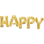 """Happy"" Phrase Gold SuperShape Foil Balloons 30""/76cm w x 10""/25cm h S55 - 5 PC"