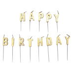 Gold Happy Birthday Pick Candles - 6 PKG/13