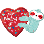 "Happy Valentine's Day Sloth SuperShape Foil Balloons 30""/75cm x 21""/53cm P35 - 5 PC"