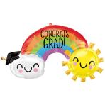"""Congrats Grad Rainbow SuperShape XL Foil Balloons 41""""/104cm x 21""""/53cm P35 - 5 PC"""