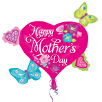 Happy Mother's Day Butterflies & Hearts SuperShape XL Foil Balloons P30 - 5 PC