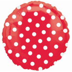 Polka Dot Red Standard Unpackaged Foil Balloons S40 - 10 PC