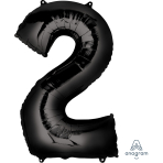 "Number 2 Black SuperShape Foil Balloons 22""/55cm w x 33""/83cm h P50 - 5 PC"