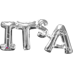 """It's A"" Phrase Silver SuperShape Foil Balloons 20""/50cm x 9""/22cm S55 - 5 PC"