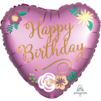 Happy Birthday Satin Flowers Standard Foil Balloons S40 - 5 PC