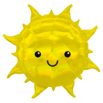 """Iridescent Sun SuperShape Foil Balloons 27""""/68cm x 27""""/68cm P35 - 5 PC"""