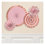 Rose Gold Blush Hot Stamped Paper Fans - 6 PKG/4