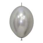 "Reflex Silver 981 Link-O-Loon Latex Balloons 6""/15cm - 50 PC"