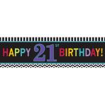 21st Happy Birthday Giant Banners 165cm x 50.8cm - 6 PC