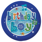 Happy Birthday Boy Holographic Badges 5.5cm - 12 PKG